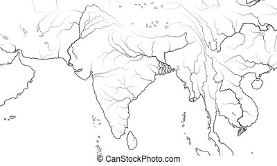 landkarte, (geographic, subcontinent:, gebiet, indien, asia,...