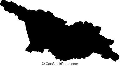 landkarte, georgia, silhouette, land, abbildung, vektor, schwarzer hintergrund, ränder, weißes