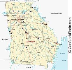 landkarte, georgia, straße
