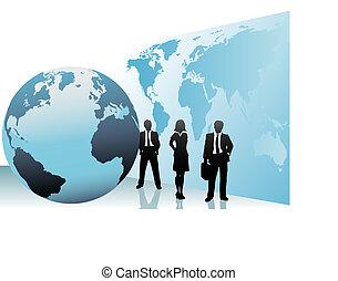 landkarte, geschäftsmenschen, globus weltweit,...