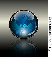 landkarte, globe., innenseite, kristall, welt, 3d