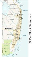 landkarte, größer, metropolitan bereich, miami, oder