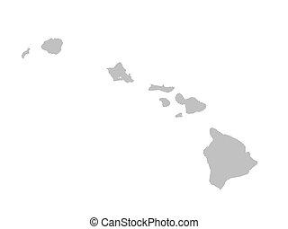 landkarte, grau, hawaii