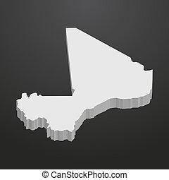 landkarte, graue , schwarzer hintergrund, mali, 3d
