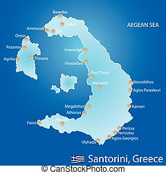 landkarte, griechenland, santorini insel