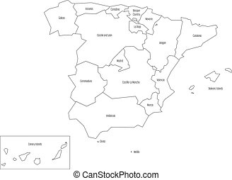 Spanien Karte Schwarz Weiß.Landkarte Wohnung Einfache Devided Vektor Autonom Communities