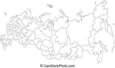 landkarte, grobdarstellung, russland