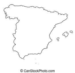 Spanien Karte Schwarz Weiß.Landkarte Schwarz Spanien Clip Art Und Stock Illustrationen 879