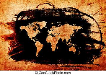 Landkarte,  Grunge, Beschaffenheit, Papier, Welt, altes