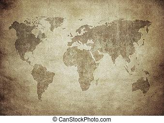 landkarte, grunge, welt