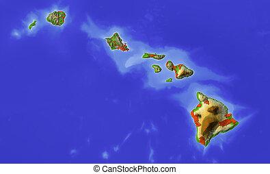 landkarte, hawaii, beschattet, erleichterung