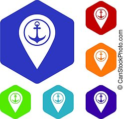 landkarte, heiligenbilder, symbol, schiffsanker, meer, zeiger, hafen
