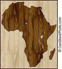 landkarte, holz, afrikas, hintergrund