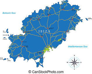 landkarte, ibiza