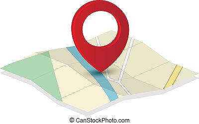 landkarte, ikone, mit, stift, zeiger