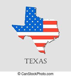 landkarte, illustration., staat, -, amerikanische markierung, vektor, texas