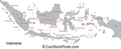 landkarte, indonesien, grau