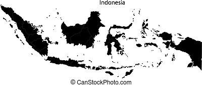 landkarte, indonesien, schwarz