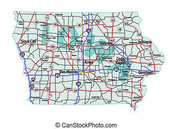 landkarte, iowa, landstraße, zwischenstaatlich