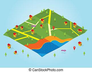 landkarte, isometrisch