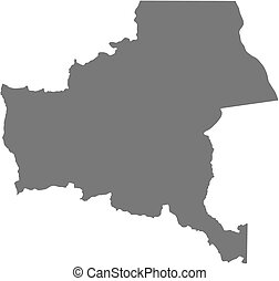 landkarte, katanga, -, (democratic, congo), republik