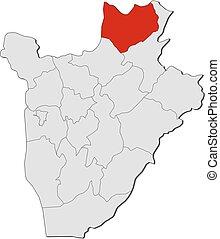 landkarte, kirundo, -, burundi