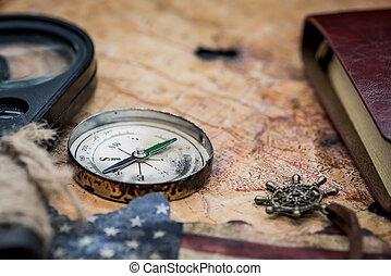 landkarte, kolumbus tag, welt, kompaß