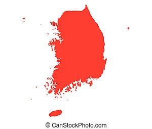 landkarte, korea süden
