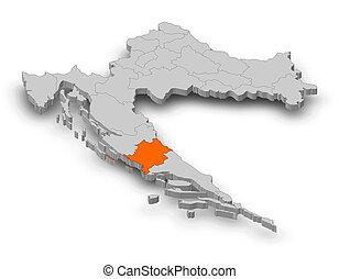 landkarte, -, kroatien, sibenik-knin, -, 3d-illustration