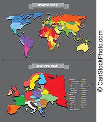 landkarte, land, jedes, welt, selectable, template.