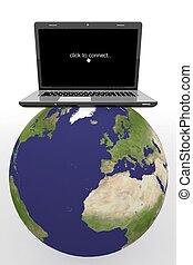 landkarte, laptop, welt globus