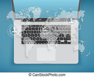 landkarte, laptop, welt, hintergrund, sozial