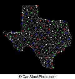 landkarte, leiche, licht, flecke, hell, masche, texas