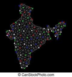 landkarte, leiche, licht, indien, flecke, hell, masche
