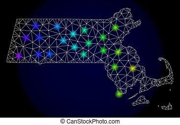 landkarte, leiche, licht, staat, flecke, polygonal, hell, masche, massachusetts