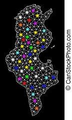 landkarte, leiche, tunesien, licht, flecke, hell, masche