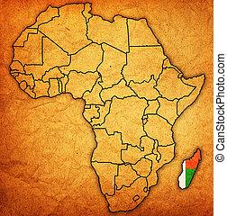 landkarte, madagaskar, eigentlich, afrikas