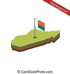 landkarte, madagaskar, illustration., flag., isometrisch, vektor