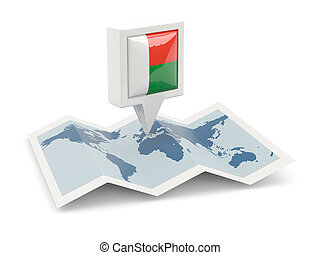 landkarte, madagaskar, quadrat, fahne, stift