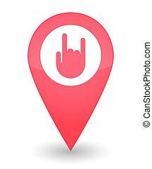 landkarte, markierung, ikone, hand