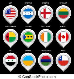 landkarte, markierung, mit, flag-set, eghth