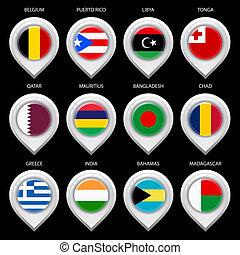 landkarte, markierung, mit, flag-set, neunter