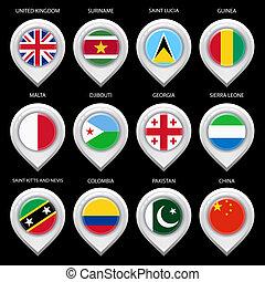 landkarte, markierung, mit, flag-set, viert