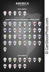 landkarte, markierungen, mit, flaggen, -, america., original, colors.
