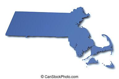 landkarte, -, massachusetts, usa