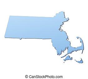 landkarte, massachusetts(usa)