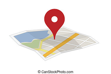 landkarte, mit, a, stift