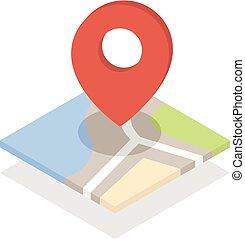 landkarte, mit, a, stift, freigestellt, weiß