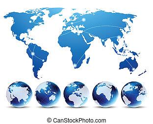 landkarte, mit, globen