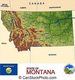 landkarte, montana, grafschaften